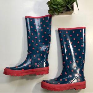 J. CREW Blue Rain Boots Pink Polka Dots - Size 9